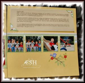 Spring page 2.  Again using the same size (2.5 x 2.5), sweet always designer paper.