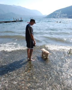 Stitch walking out on the lake to cool off.